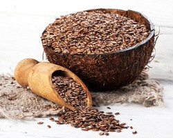 bowl of flaxseeds on a table