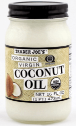 jar of Trader Joe's coconut oil