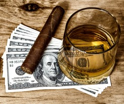 money, cigar, and alcoholic drink