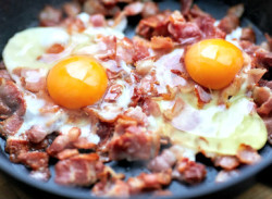 bacon and eggs on a pan