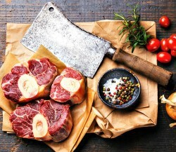 butchers knife and meat cuts